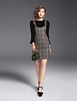 Women's Daily Work Sophisticated Sweater Dress Suits,Plaid/Check Long Sleeves Nylon Terylene