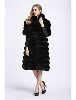 Women's Going out Simple Casual Winter Fur Coat,Solid V Neck 3/4 Length Sleeves Long Faux Fur