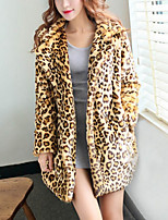 Women's Daily Active Winter Fur Coat,Leopard V Neck Long Sleeve Long Cotton Acrylic