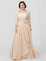 Sheath / Column Square Neck Floor Length Chiffon Lace Mother of the Bride Dress with Flower(s) Sash / Ribbon by LAN TING BRIDE®