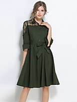 SUOQI Women's Daily Going out A Line Sheath Swing Dress,Solid Embroidered Shirt Collar Knee-length Half Sleeves Polyester Spring/Fall Summer