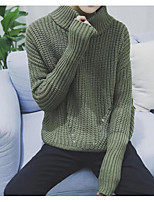 Men's Daily Going out Long Pullover,Solid Turtleneck Long Sleeves Polyester Winter Fall/Autumn Thick Micro-elastic