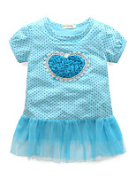 Girl's Polka Dot Dress,Cotton Short Sleeves Cute Blue