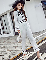 Women's Going out Casual Spring Fall Shirt Pant Suits,Color Block Shirt Collar Long Sleeves Polyester