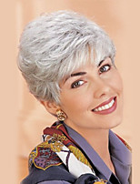 Women Human Hair Capless Wigs Medium Auburn Silver Black Short Straight Side Part