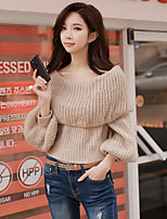 cheap -DABUWAWA Women's Daily Going out Casual Street chic Short Pullover,Solid Boat Neck Long Sleeves Acrylic Winter Autumn Medium Micro-elastic
