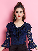 Ballroom Dance Tops Women's Performance Lace Lace 3/4 Length Sleeve Tops