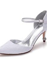 Damen Schuhe Spitze Satin Frühling Sommer Komfort Hochzeit Schuhe Spitze Zehe Strass Glitter Ausgehöhlt Für Hochzeit Kleid Party &