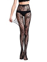 Women's Hosiery Thin Pantyhose,Nylon Jacquard One-piece Suit Black