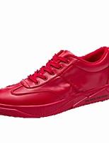 abordables -Hombre Zapatos PU Primavera Otoño Confort Zapatillas de deporte Para Casual Blanco Negro Rojo