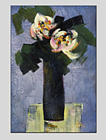 Hand-Painted Floral/Botanical Vertical Panoramic,Modern One Panel Canvas Oil Painting For Home Decoration