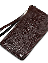 Men Bags Crocodile Wallet Pattern / Print Zipper for Formal Office & Career All Season Blue Black Coffee