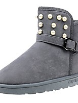 cheap -Women's Shoes Nubuck leather Winter Snow Boots Boots Round Toe Mid-Calf Boots Pearl For Casual Brown Gray Black