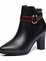 abordables -Femme Chaussures Similicuir Eté Automne Confort Nouveauté Bottes à la Mode Botillons Bottes Pour Mariage Décontracté Noir