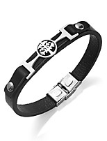 Men's Bracelet Leather Bracelet Simple Elegant Stainless Steel Leather Round Jewelry For Evening Party Going out