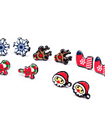 Women's Stud Earrings , Cute Cartoon New Year Christmas Resin Snowflake Earrings
