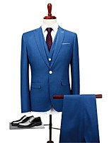 Blue Standard Fit Polyester Suit - Peaked Lapel Single Breasted One-button