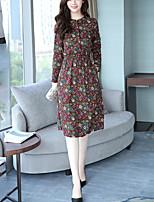 Trapèze Robe Femme Décontracté / Quotidien Grandes Tailles Rétro Chinoiserie,Imprimé Mao Mi-long Manches Longues Coton Taille Normale