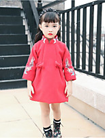 Girl's Daily Print Dress,Cotton Polyester Winter Fall 3/4 Length Sleeves Casual Red