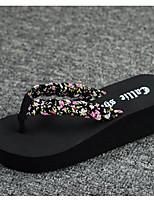 Недорогие -Для женщин Обувь Этиленвинилацетат Кожа Лето Удобная обувь Тапочки и Шлепанцы Назначение Повседневные Черный Красный