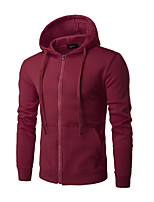 cheap -Men's Daily Hoodie Solid Cotton