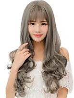 cheap -Women Wigs Enchanting Gray Color  Long Wave With Bangs Synthetic Wigs