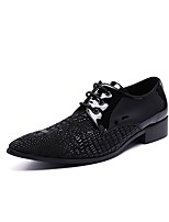 Men's Shoes Real Leather Winter Fall Formal Shoes Novelty Oxfords For Wedding Party & Evening Black