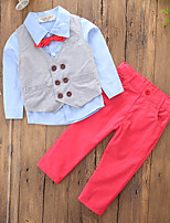 cheap -Boys' Solid Color Block Clothing Set,Cotton Polyester Fall Spring, Fall, Winter, Summer Long Pant Casual Active Red