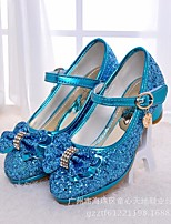 cheap -Girls' Shoes PU Spring Fall Tiny Heels for Teens Heels Bowknot For Casual Pink Blue Silver