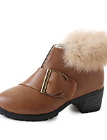 cheap -Women's Shoes PU Spring Winter Comfort Boots For Outdoor Brown Black