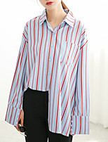 Women's Daily Street chic Shirt,Striped Shirt Collar Long Sleeves Cotton