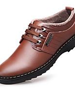 Masculino sapatos Pele Real Inverno Conforto Oxfords Para Casual Preto Marron