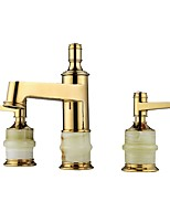 Classic Style Luxury Widespread Luxury High Quality Brass Valve Two Handles Three Holes Ti-PVD , Bathroom Sink Faucet