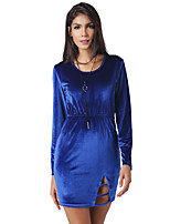 Women's Party Daily Vintage Casual Sexy Street chic A Line Bodycon Sheath Dress,Solid Vintage Round Neck Above Knee Long Sleeve Polyester