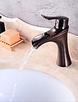 Archaistic Vintage Style Deck Mounted Waterfall Ceramic Valve One Hole Oil-rubbed Bronze , Bathroom Sink Faucet