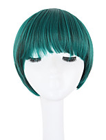 Women Synthetic Wig Capless Short Straight Green Natural Hairline Bob Haircut With Bangs Lolita Wig Celebrity Wig Halloween Wig Cosplay