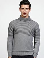 Для мужчин На каждый день Обычный Пуловер Однотонный,Хомут Длинный рукав Хлопок Средняя Слабоэластичная