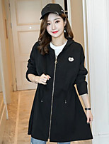 Women's Daily Going out Simple Casual Spring Fall Trench Coat,Solid Round Neck Long Sleeves Long Polyester