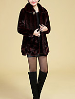 Недорогие -Для женщин На каждый день Осень Зима Пальто с мехом Рубашечный воротник,Простой Однотонный Обычная Длинные рукава,Шерсть