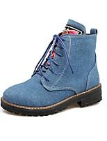 abordables -Mujer Zapatos Cuero Nobuck Primavera Otoño Tira en el Tobillo Botas de Combate Botas Dedo redondo Botines/Hasta el Tobillo Aplique Para