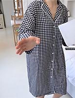 Camicia Da donna Sport Carnevale Moda città Per tutte le stagioni,A scacchi Colletto alla coreana Cotone Manica lunga Sottile