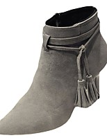 Damen Schuhe PU Winter Modische Stiefel Stiefel Spitze Zehe Mittelhohe Stiefel Für Normal Schwarz Beige Grau