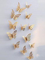 3D Butterfly Wall Decals Stickers Decorations Gold Hollow-out 12 PCS Butterflie