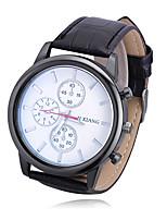 cheap -Men's Women's Casual Watch Chinese Quartz Large Dial PU Band Casual Black
