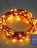 1set hkv® 12 m 100led dc 5 v solaire fil de cuivre led chaîne lumière extérieure étanche fée lampe pour la décoration de noël de noël