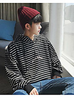 cheap -Men's Daily Going out Hoodie Striped Hooded Micro-elastic Polyester Long Sleeves Winter Fall/Autumn