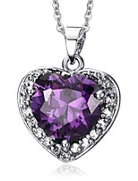 cheap -Women's Pendant Necklace Synthetic Amethyst Rhinestone Titanium Steel Pendant Necklace , Wedding Evening Party