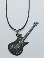 Men's Women's Pendant Necklaces Guitar Music Notes Titanium Steel Hip-Hop Personalized Jewelry For Daily Club