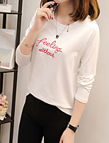 cheap -Women's Going out Cute Cross-Seasons Blouse,Solid Round Neck Long Sleeves Cotton Polyester Medium