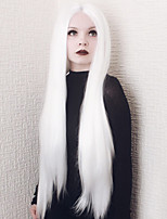 cheap -Women Synthetic Lace Front Wig 24inch Long Straight White Middle Part Cosplay Wig